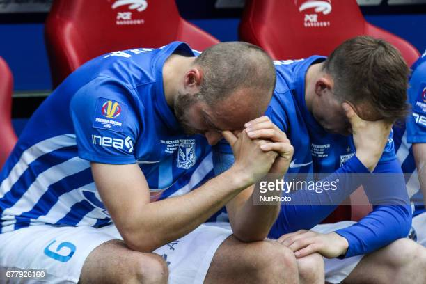 Lukasz Tralka and Maciej Gajoso of Lech delusion after the Polish FA Cup final match Arka Gdynia v Lech Poznan at the National Stadium in Warsaw...