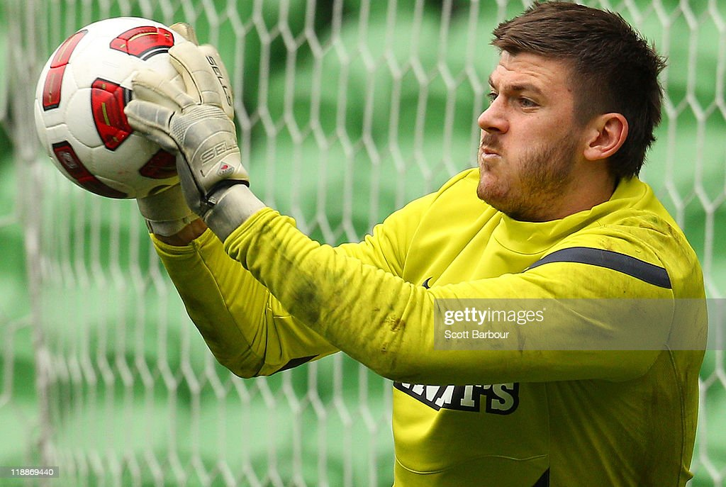 Lukasz Zaluska of Celtic stops the ball during a Glasgow Celtic training session at AAMI Park on July 12, 2011 in Melbourne, Australia.
