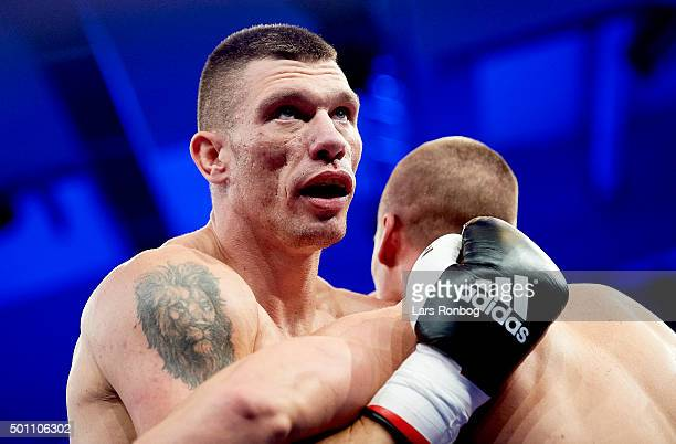 Lukasz Zygmunt of Poland fights against KaiRobin Havnaa of Norway in the Cruiserweight match during the Sauerland Promotion Boxing Ondt Blod Match at...