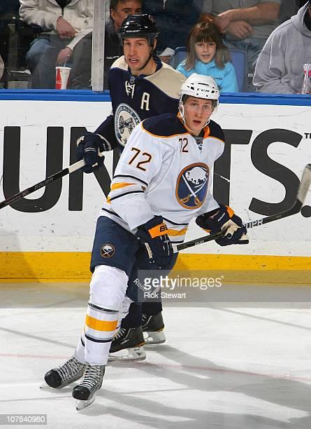 Luke Adam of the Buffalo Sabres skates against the Columbus Blue Jackets at HSBC Arena on December 3 2010 in Buffalo New York Buffalo won 50