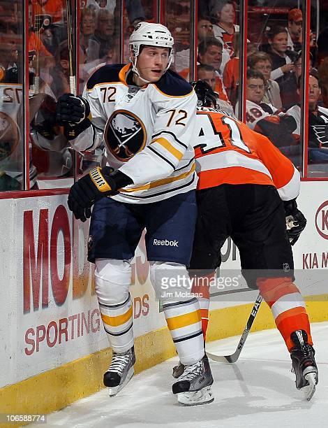 Luke Adam of the Buffalo Sabres skates against the Philadelphia Flyers on October 26 2010 at Wells Fargo Center in Philadelphia Pennsylvania The...