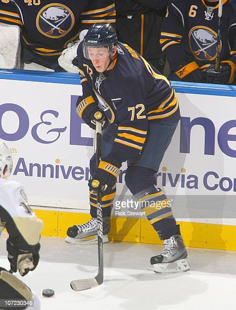 Luke Adam of the Buffalo Sabres skates against the Pittsburgh Penguins at HSBC Arena on November 24 2010 in Buffalo New York Pittsburgh won 10