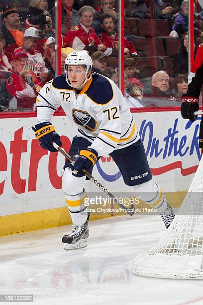 Luke Adam of the Buffalo Sabres skates during an NHL game against the Ottawa Senators at Scotiabank Place on December 20 2011 in Ottawa Ontario...