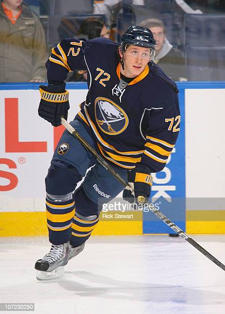 Luke Adam of the Buffalo Sabres skates in warmups prior to playing against the Pittsburgh Penguins at HSBC Arena on November 24 2010 in Buffalo New...