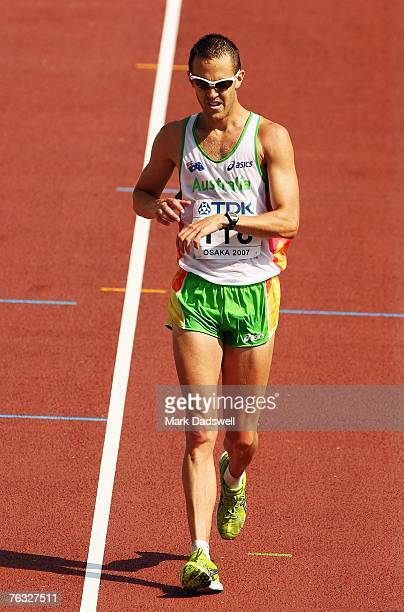 Luke Adams of Australia finishes the Men's 20K Walk final on day two of the 11th IAAF World Athletics Championships on August 26, 2007 at the Nagai...