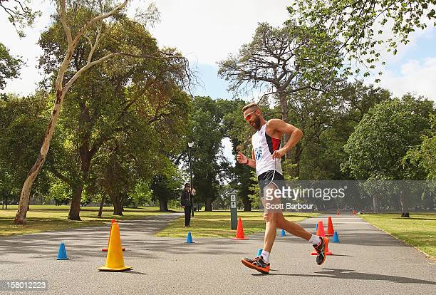 Luke Adams of New South Wales competes in the Mens 50000 metre Race Walk Championship Open during the 50km race walking championships at Fawkner Park...