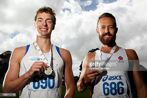 Luke Adams of New South Wales poses with his gold medal and Ian Rayson of NSWIS poses with his silver medal following the Mens 50000 metre Race Walk...