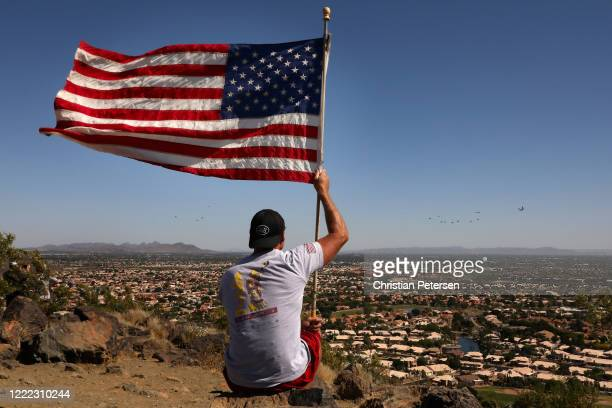 Luke AFB's 56th Fighter Wing and the 944th Fighter Wing and Arizona National Guard's 161st Air Refueling Wing perform a valley flyover as Steve...