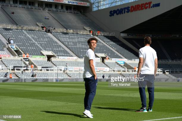 Luke Amos and Jan Vertonghen of Tottenham Hotspur inspect the pitch ahead of the Premier League match between Newcastle United and Tottenham Hotspur...