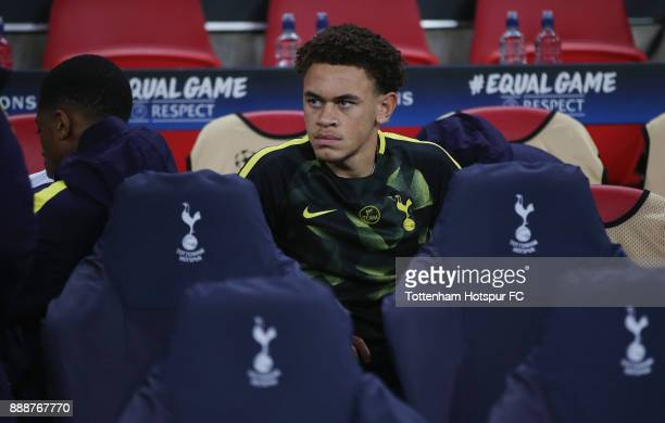Luke Amos and Kazaiah Sterling of Tottenham Hotspur on the bench during the UEFA Champions League group H match between Tottenham Hotspur and APOEL...