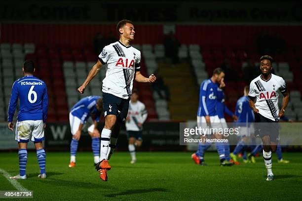 Luke Amos of Spurs celebrates scoring the opening goal during the Barclays U21 Premier League International Cup match between Tottenham Hotspur U21...