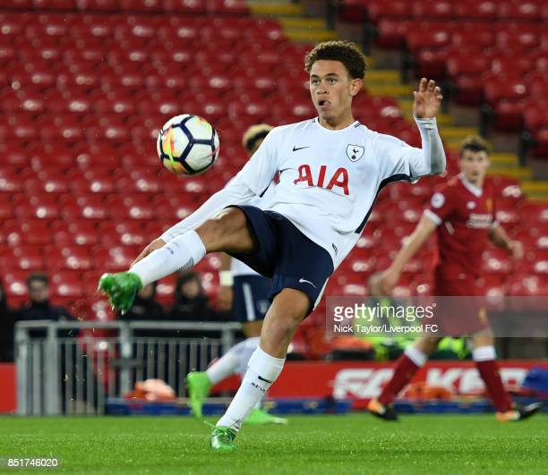 Luke Amos of Tottenham Hotspur in action during the Liverpool v Tottenham Hotspur Premier League 2 game at Anfield on September 22 2017 in Liverpool...
