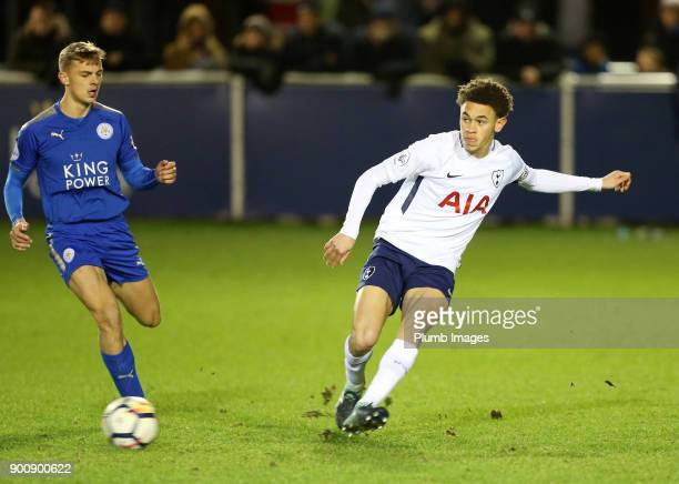 Luke Amos of Tottenham Hotspur in action with Kiernan DewsburyHall of Leicester City during the Premier League 2 match between Leicester City and...