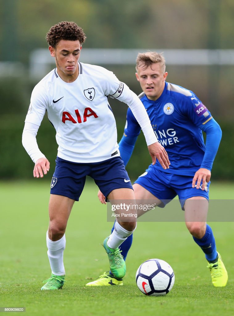 Luke Amos of Tottenham Hotspur is closed down by George Thomas of Leicester City during the Premier League 2 match between Tottenham Hotspur and Leicester City at Enfield Training Centre on October 13, 2017 in Enfield, England.