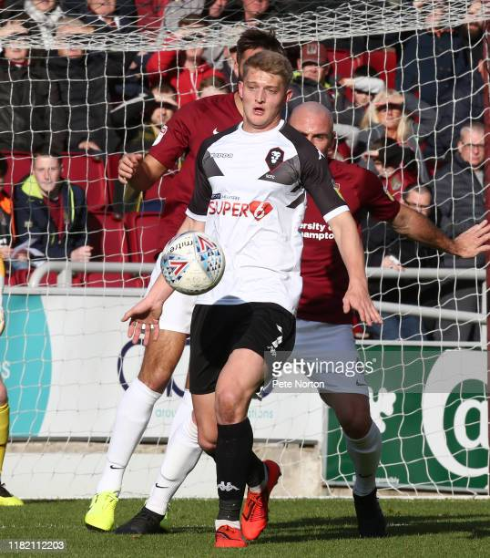 Luke Armstrong of Salford City in action during the Sky Bet League Two match between Northampton Town and Salford City at PTS Academy Stadium on...