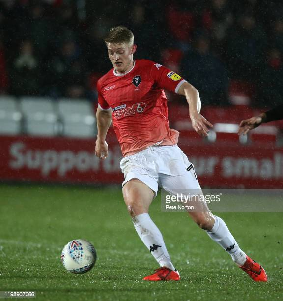 Luke Armstrong of Salford City in action during the Sky Bet League Two match between Salford City and Northampton Town at The Peninsula Stadium on...
