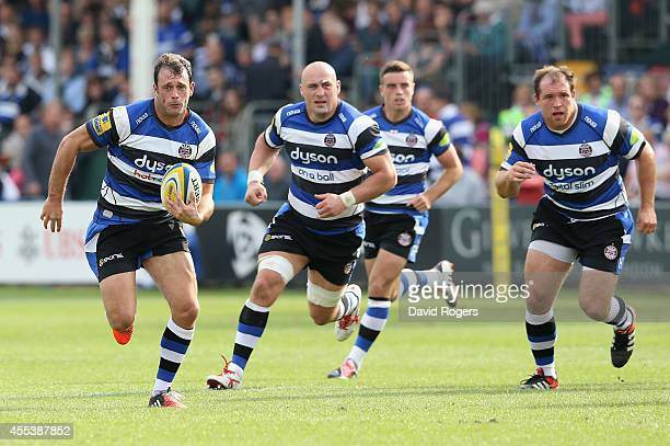 Luke Arscott of Bath runs with the ball during the Aviva Premiership match between Bath and London Welsh at the Recreation Ground on September 13...