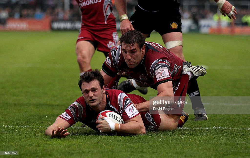 Luke Arscott, the Bristol fullback, dives over but his try was disallowed during the Championship playoff final match, 1st leg between Exeter Chiefs and Bristol at Sandy Park on May 19, 2010 in Exeter, England.