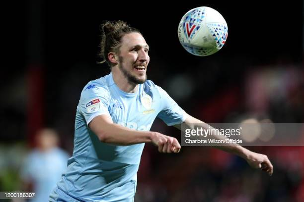 Luke Ayling of Leeds during the Sky Bet Championship match between Brentford and Leeds United at Griffin Park on February 11 2020 in Brentford England