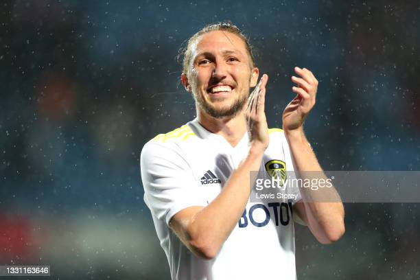Luke Ayling of Leeds United applauds the fans after the Pre-Season Friendly match between Blackburn Rovers and Leeds United at Ewood Park on July 28,...
