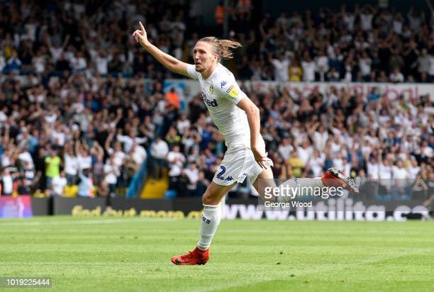 Luke Ayling of Leeds United celebrates after scoring the opening goal during the Sky Bet Championship between Leeds United and Rotherham United at...