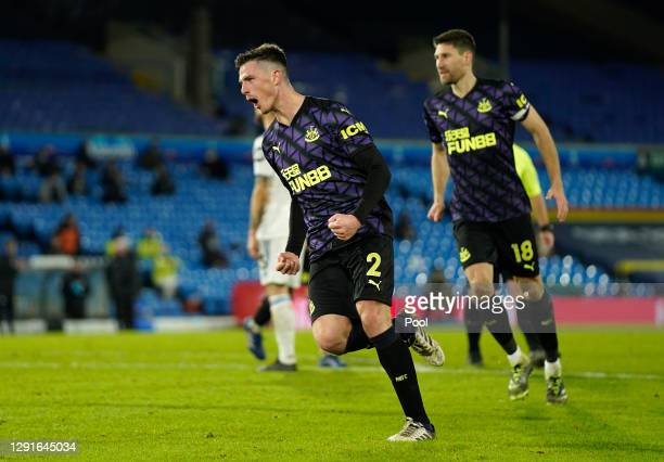 Luke Ayling of Leeds United celebrates after scoring their team's second goal during the Premier League match between Leeds United and Newcastle...