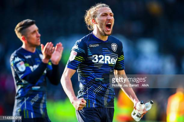 Luke Ayling of Leeds United celebrates at full time during the Sky Bet Championship Play-off Semi Final First Leg match between Derby County and...