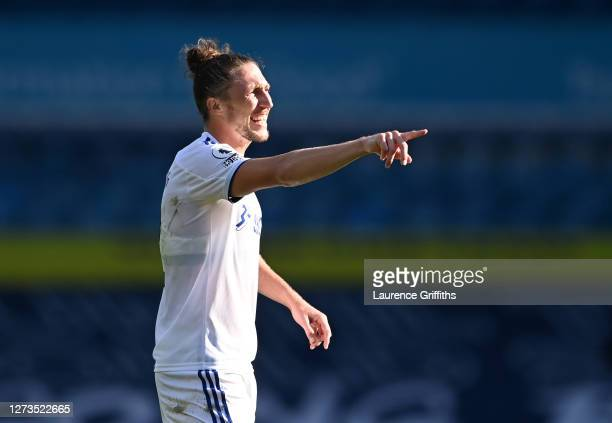 Luke Ayling of Leeds United looks on during the Premier League match between Leeds United and Fulham at Elland Road on September 19, 2020 in Leeds,...