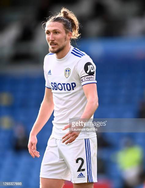 Luke Ayling of Leeds United looks on during the Premier League match between Leeds United and Burnley at Elland Road on December 27, 2020 in Leeds,...