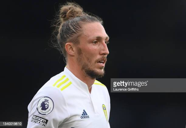 Luke Ayling of Leeds United looks on during the Premier League match between Leeds United and Liverpool at Elland Road on September 12, 2021 in...