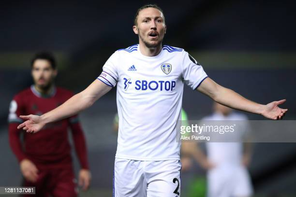 Luke Ayling of Leeds United reacts during the Premier League match between Leeds United and Wolverhampton Wanderers at Elland Road on October 19,...