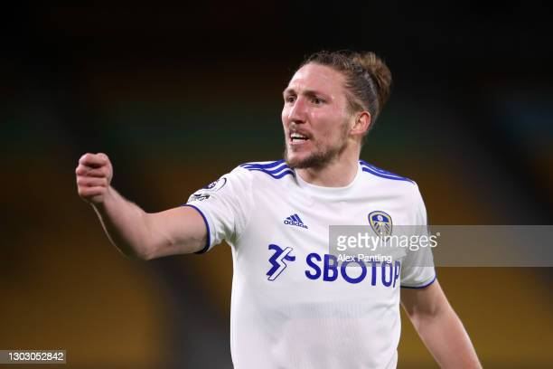 Luke Ayling of Leeds United reacts during the Premier League match between Wolverhampton Wanderers and Leeds United at Molineux on February 19, 2021...