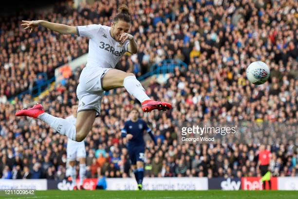 Luke Ayling of Leeds United scores his side's first goal during the Sky Bet Championship match between Leeds United and Huddersfield Town at Elland...