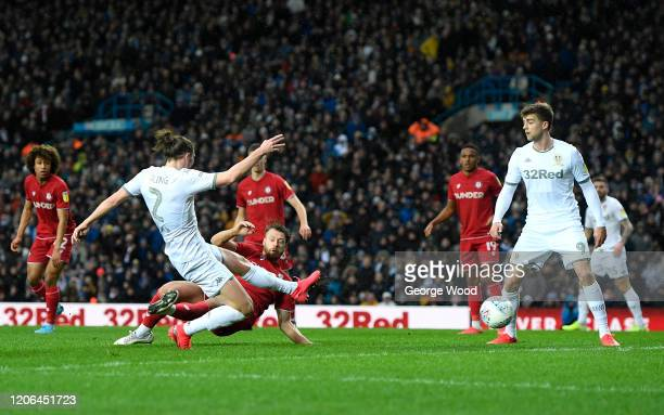 Luke Ayling of Leeds United scores his team's first goal during the Sky Bet Championship match between Leeds United and Bristol City at Elland Road...