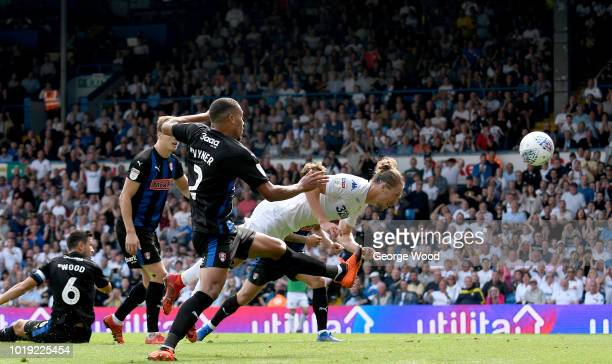 Luke Ayling of Leeds United scores the opening goal from a diving header during the Sky Bet Championship between Leeds United and Rotherham United at...