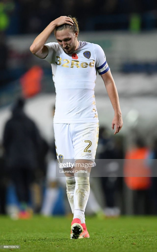 Luke Ayling of Leeds United shows his disappointment after the Sky Bet Championship match between Leeds United and Derby County at Elland Road on October 31, 2017 in Leeds, England.
