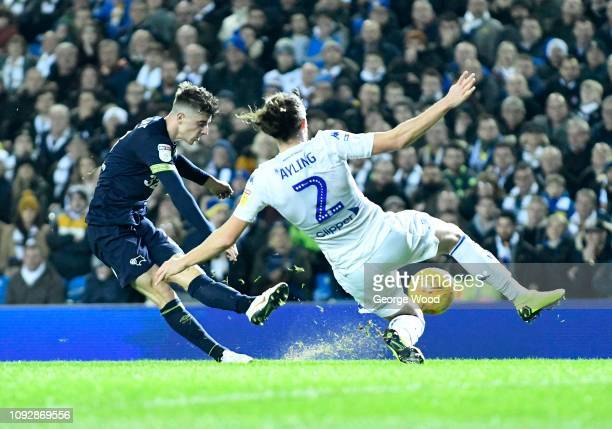 Luke Ayling of Leeds United slides in to block a shot from Mason Mount of Derby County during the Sky Bet Championship match between Leeds United and...
