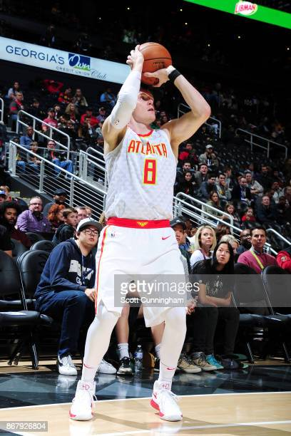 Luke Babbitt of the Atlanta Hawks shoots the ball against the Milwaukee Bucks on October 29 2017 at Philips Arena in Atlanta Georgia NOTE TO USER...