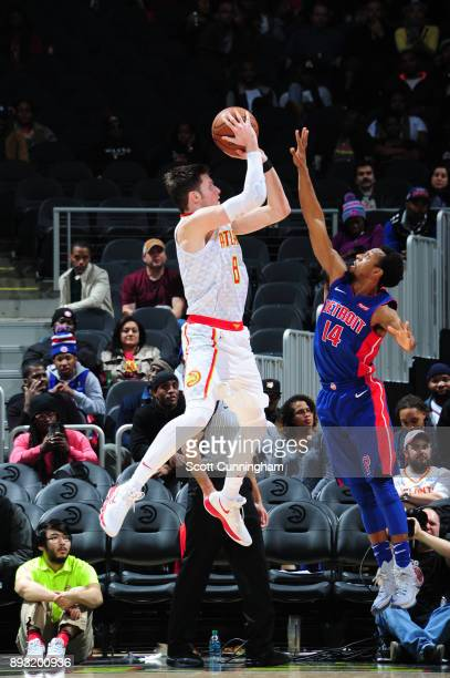 Luke Babbitt of the Atlanta Hawks shoots the ball against the Detroit Pistons on December 14 2017 at Philips Arena in Atlanta Georgia NOTE TO USER...