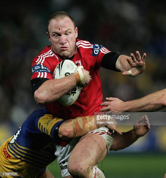 Luke Bailey of the Dragons runs during the round 22 NRL match between the Parramatta Eels and the St George Illawarra Dragons at Parramatta Stadium...