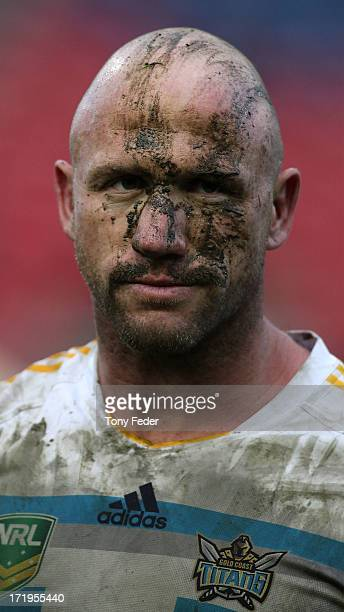 Luke Bailey of the Titans leaves the ground after the Titans were defeated by the Knights during the round 16 NRL match between the Newcastle Knights...