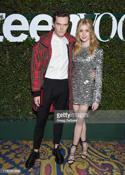 Luke Baines and Katherine McNamara attend Teen Vogue's Young Hollywood Party, Presented By Snap at Los Angeles Theatre on February 15, 2019 in Los...