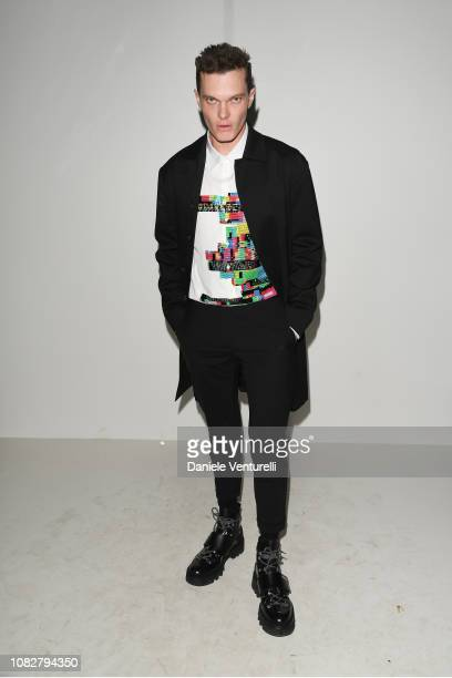 Luke Baines attends the Dsquared2 show during Milan Men's Fashion Week Autumn/Winter 2019/20 on January 13, 2019 in Milan, Italy.