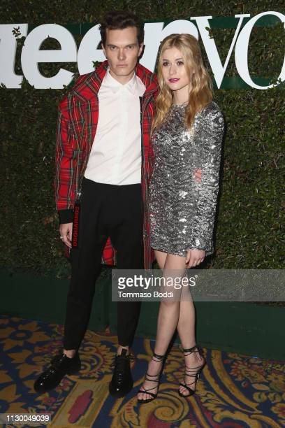 Luke Bainesand Katherine McNamara attend the Teen Vogue's 2019 Young Hollywood Party Presented By Snap at Los Angeles Theatre on February 15, 2019 in...