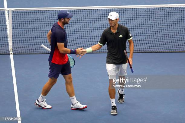 Luke Bambridge of the United Kingdom and Ben McLachlan of Japan in action during his Men's Doubles quarterfinal match against Robert Farah and Juan...