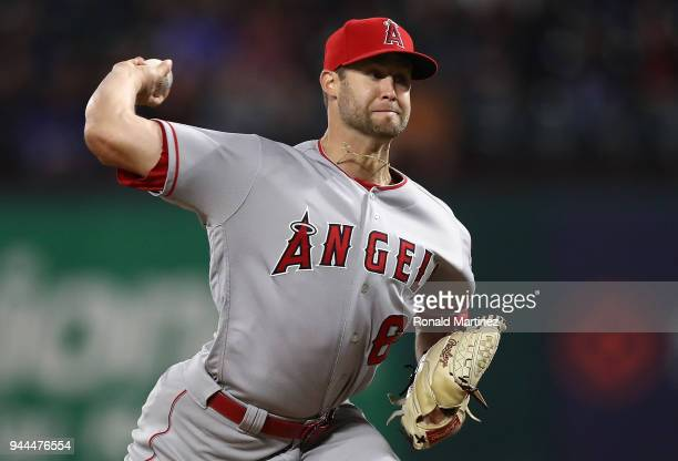 Luke Bard of the Los Angeles Angels throws against the Texas Rangers in the sixth inning at Globe Life Park in Arlington on April 10 2018 in...