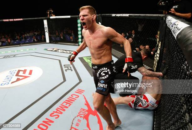 Luke Barnatt reacts after his TKO victory over Mats Nilsson in their middleweight fight during the UFC Fight Night London event at the O2 Arena on...