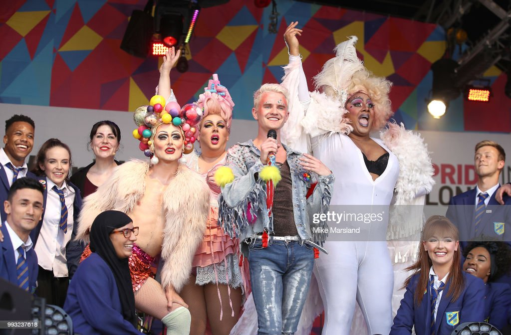Luke Bayer (C) and cast members from the stage musical 'Everybody Loves Jamie' performs on the Trafalgar stage during Pride In London on July 7, 2018 in London, England. It is estimated over 1 million people will take to the streets and approximately 30,000 people and 472 organisations will join the annual parade, which is one of the world's biggest LGBT+ celebrations.