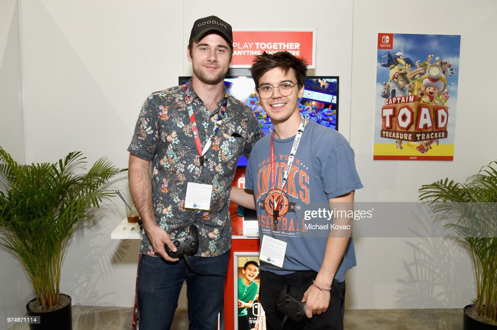 Luke Benward (L) and MacKenzie Bourg visit the Nintendo booth during the 2018 E3 Gaming Convention at Los Angeles Convention Center on June 14, 2018 in Los Angeles, California.