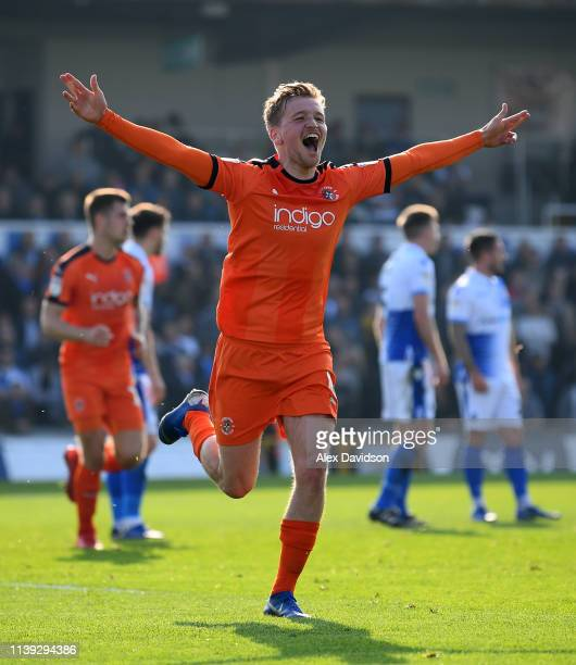 Luke Berry of Luton Towncelebrates scoring his sides second goal during the Sky Bet League One match between Bristol Rovers and Luton Town at...